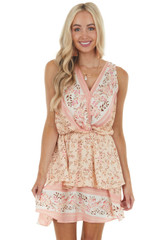 Peach Floral Print Sleeveless Tiered Surplice Mini Dress