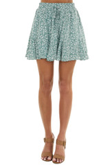 Juniper Floral Print Woven Mini Skirt with Rounded Hemline