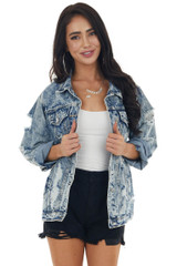 Light Acid Wash Denim Jacket with Distressed Details