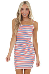 Ivory Multicolor Striped Sleeveless Bodycon Mini Knit Dress