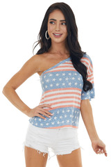 Vintage Stars and Stripes Print One Shoulder Waffle Knit Top