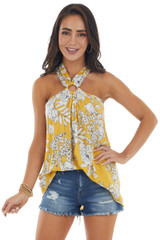 Amber Floral Print Halter Ring Neck Woven Tank
