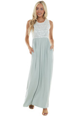 Light Juniper Knit Maxi Dress with Lace Bodice
