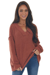 Rust Soft Chenille Oversized Knit Sweater