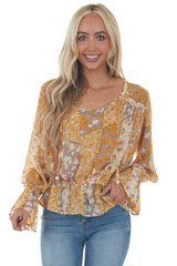 Marigold and Beige Floral Chiffon Peasant Top