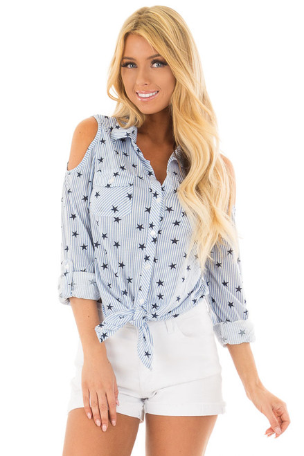 a3c5337d983e4 Light Blue Cold Shoulder Striped and Star Front Tie Top