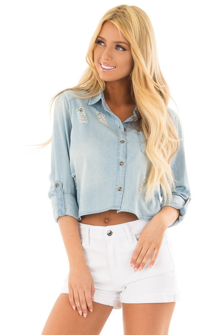 79219756bf Medium Denim Distressed Button Up 3 4 Roll Up Sleeve Top
