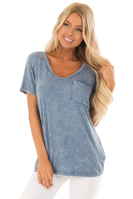 Slate Blue Soft Mineral Wash Tee with Lace Up Cold Shoulders - Lime ... 069527450