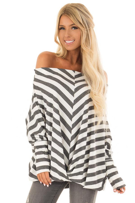 63ed82d7fb0ee9 Charcoal and White Striped Ribbed Off the Shoulder Top