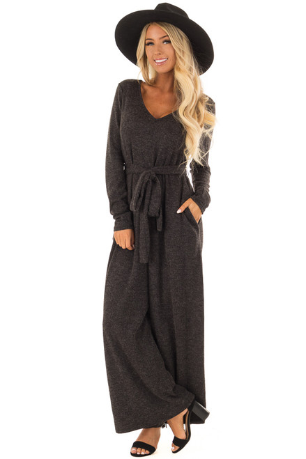 d8dd8a1df248 Charcoal Ribbed Knit Long Sleeve Jumpsuit with Waist Tie