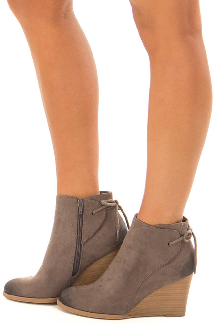 aa00076183a6 Dark Taupe Ombre Tip Wedge Booties with Shoelace Tie on Back