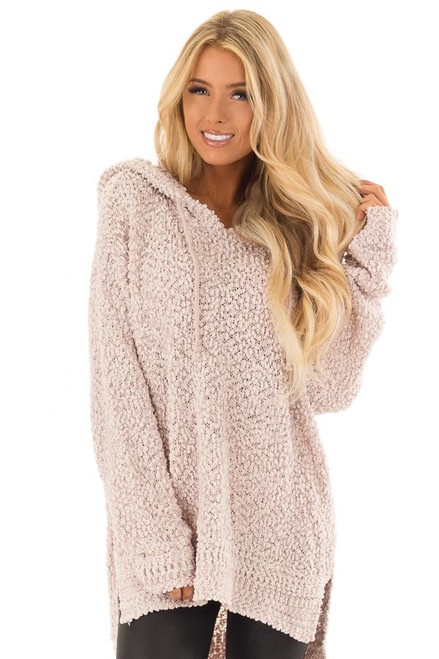 0f97f6c17c Light Blush Long Sleeve Pullover Hoodie with Side Slits