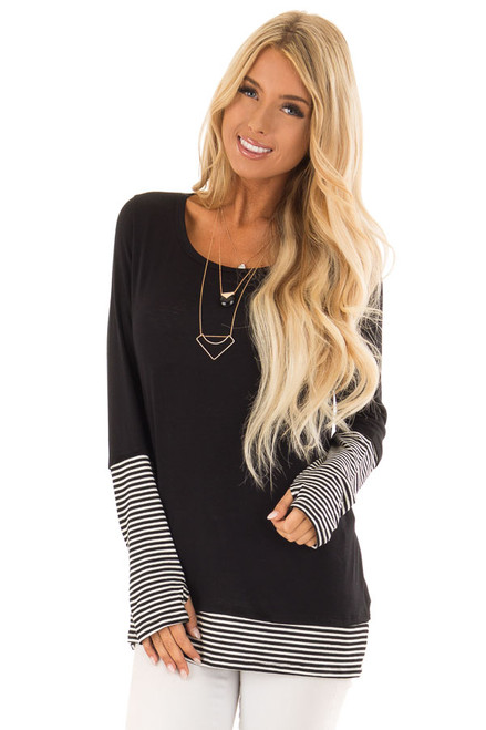 68b427a5a23133 Black Long Sleeve Top with Black and White Stripe Detail