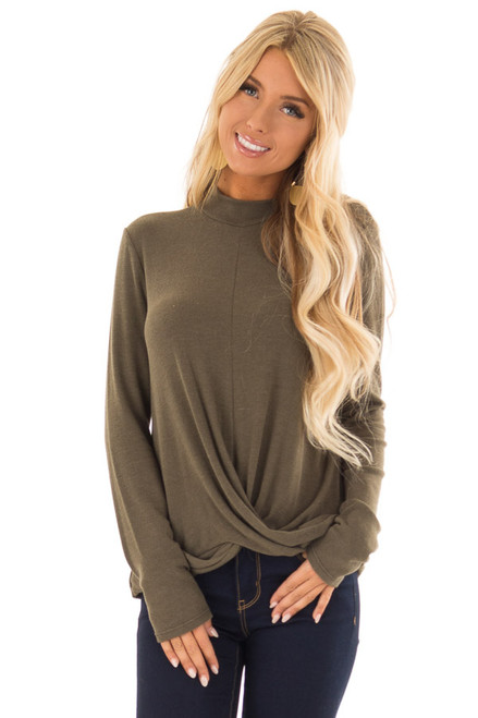 1c23e4f89 Olive Green Long Sleeve Twist Front Dress - Lime Lush Boutique