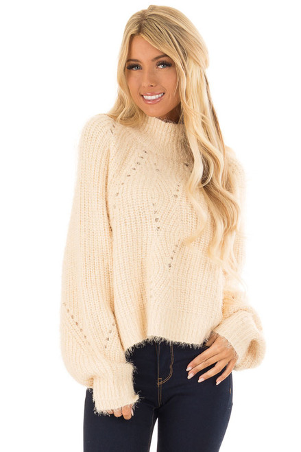bbb2c68ad122 Marsala Chunky Knit Pullover Sweater with Mock Neckline - Lime Lush ...