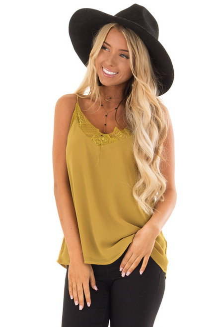 8fdd7ab73d170 Mustard Crepe Tank Top with Lace Trim Detail