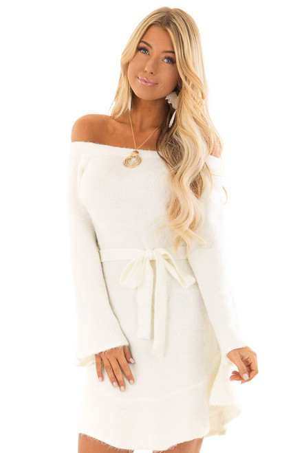 1e30b4c95f2 Ivory Off the Shoulder Sweater Dress with Tie Detail.  66.99  50.95 · Heather  Grey ...