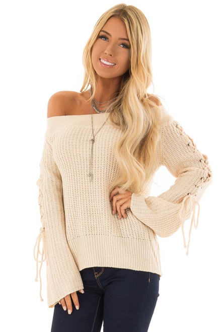 Cream Off the Shoulder Sweater with Lace Up Detail 7f497d041