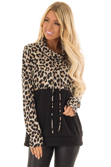 33f688ef18 Black and Leopard Print Color Block Cowl Neck Top