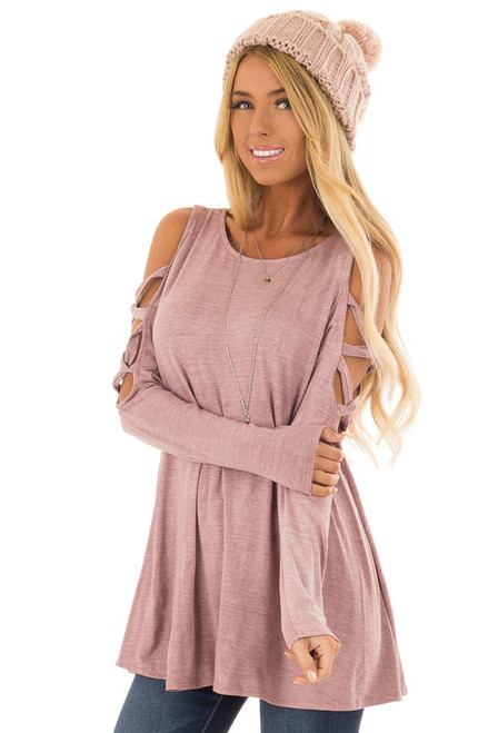 c2cd57c90eb1f Mauve Cold Shoulder Top with Caged Cut Out Sleeves