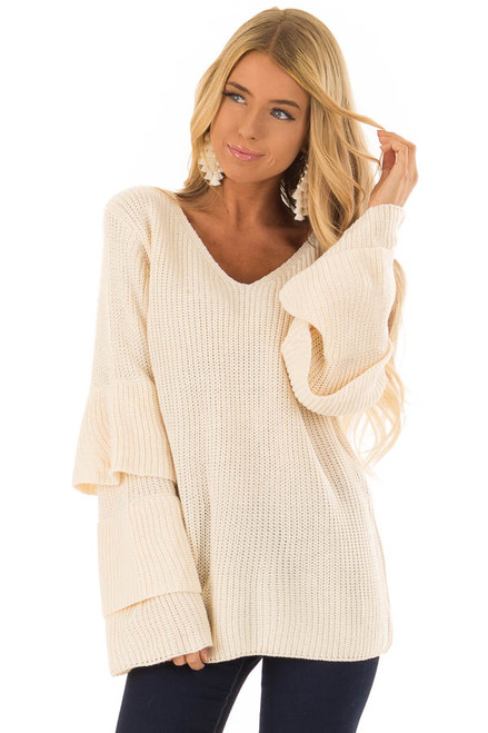 299440d4f9e32 Cream Knit Sweater with Layered Long Bell Sleeves.  44.99 · Ivory Long  Sleeve Knit Sweater with Front Knot front close up