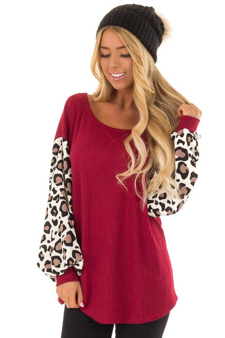 Charcoal Waffle Knit Tunic Dress With Leopard Print