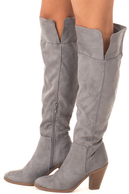 134ecb83eabd Slate Grey Faux Suede High Heel Tall Boots