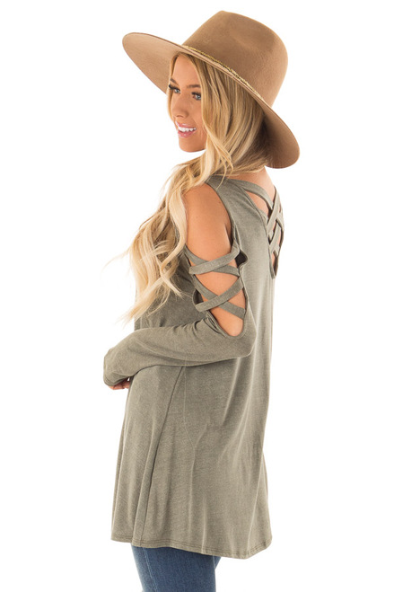 86d78c894c4579 Leaf Green Striped Cold Shoulder Top with Sleeve Ties - Lime Lush ...