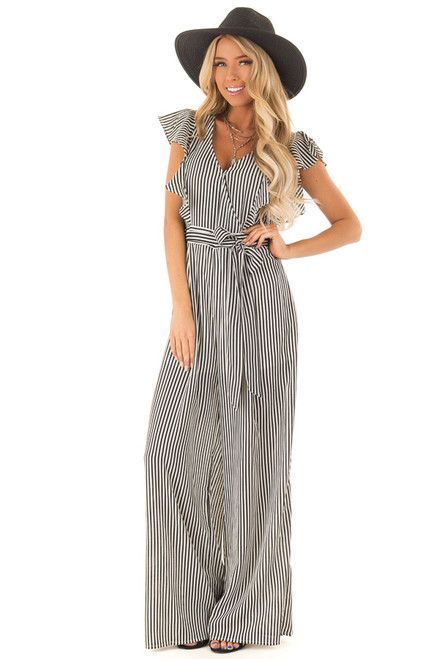 2b9d18146bf81 Black and Off White Striped Jumpsuit with Front Tie Detail
