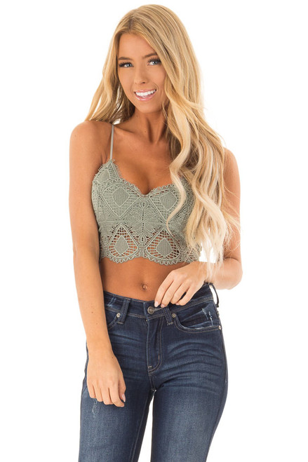 1a0c4b943d Sage Lace Bralette with Adjustable Straps and Smocked Back