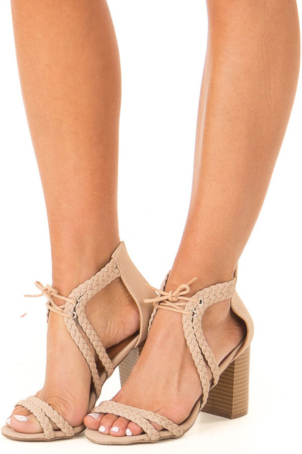 aa90d89041f9 Light Taupe Faux Leather High Heels with Braided Detail