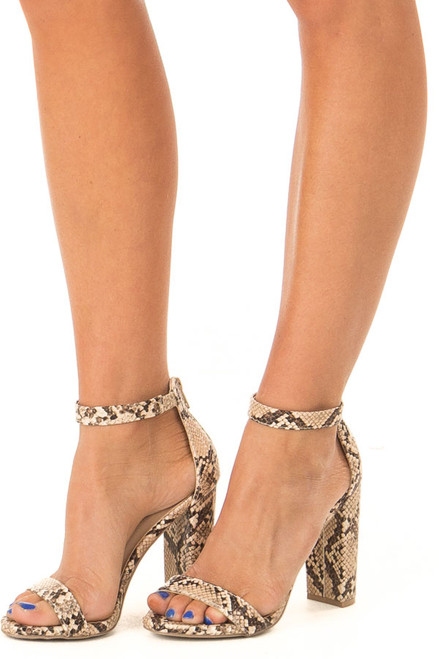 62654f5e6a2 Beige and Mocha Snake Print High Heels with Ankle Strap
