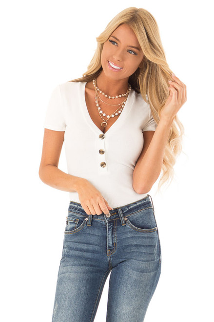 5ad20a73a3b9 White V Neck Short Sleeve Ribbed Knit Bodysuit