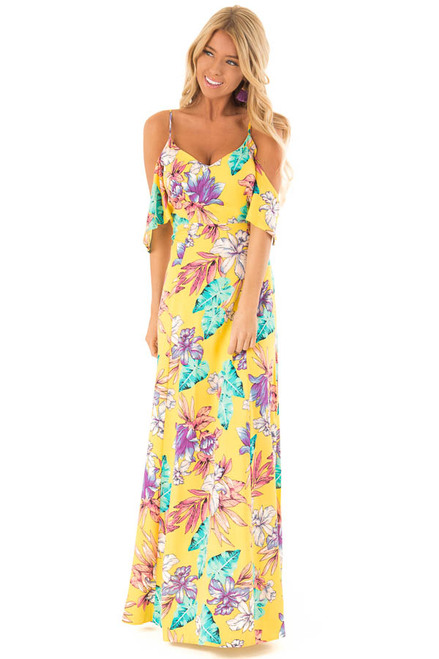 12317cc9b Pineapple Yellow Floral Print Cold Shoulder Maxi Dress.  49.99 · Navy Floral  Print Off the Shoulder Maxi Dress front full body
