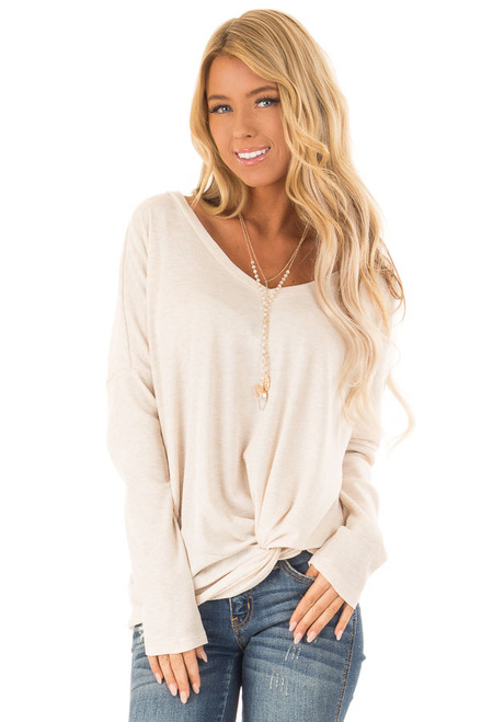 00a3f8d46c Oatmeal Long Sleeve V Neck Sweater with Twist Detail