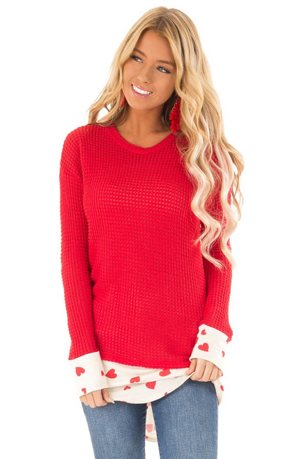 a908a12cbba669 Candy Apple Red Waffle Knit Top with Heart Hemline Detail. $36.99 · Ink  Black Floral Print Long Sleeve Top front close up