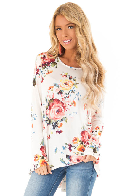 947a1a9c602aab Ivory Floral Print Long Sleeve Top with Ruffle Detail