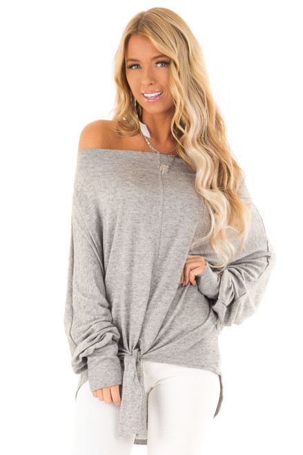 c7dcb4b410e Heather Grey Off the Shoulder Sweater Dress with Tie Detail - Lime ...