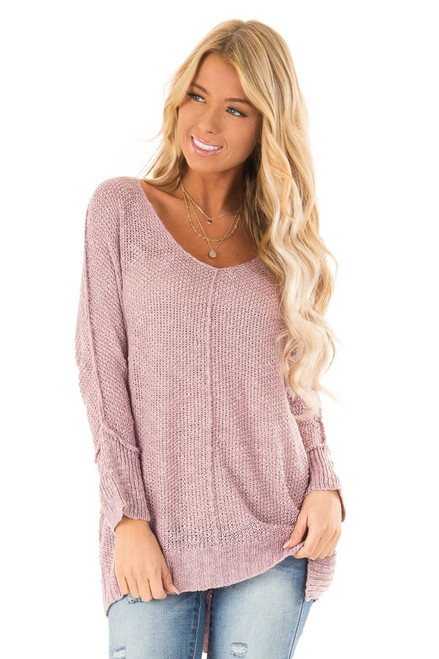 d05352a369 Lilac Long Sleeve Knit Top with Side Slits and Exposed Seam