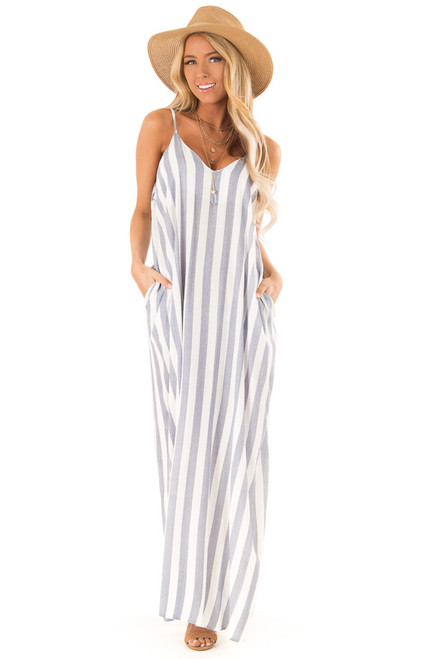 0614575158 Faded Navy and Off White Striped Maxi Dress with Pockets