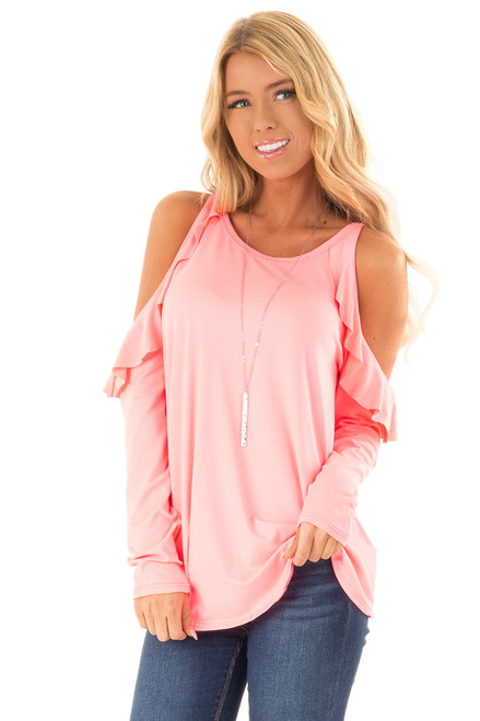 cbd9e3a259b Neon Pink Long Sleeve Cold Shoulder Top with Ruffle Details