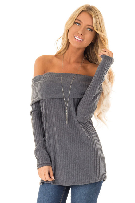 950336c40323e Steel Blue Off the Shoulder Sweater with Fold Over Detail