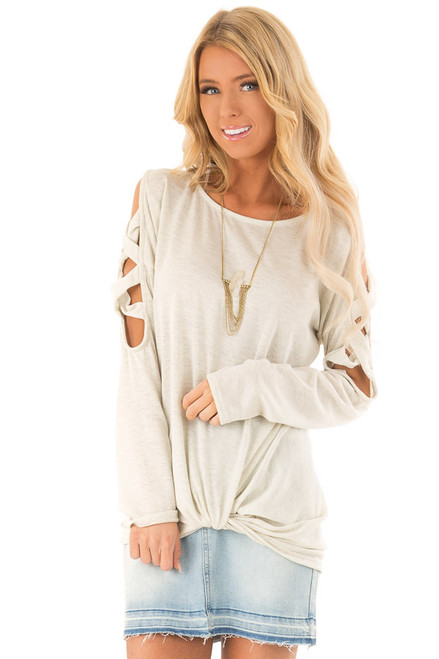 Oatmeal Criss Cross Cold Shoulder Top with Front Twist 7135c1389