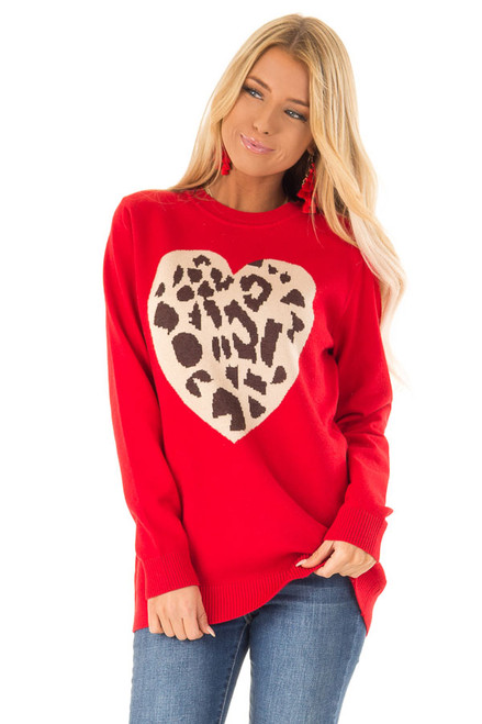 ee10e35139 Lipstick Red Long Sleeve Sweater with Leopard Print Heart