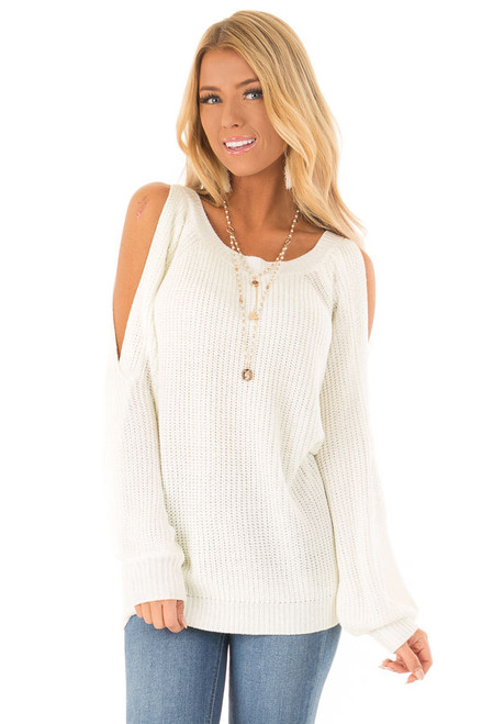 95b16a723719c Cream Knit Sweater with Cold Shoulder Twisted Sleeves