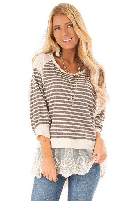 f71c3d9afd243 Charcoal and Oatmeal Striped Dolman Top with Lace Detail