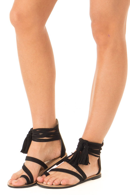 f8d88e60754 Black Strappy Ankle Sandals with Fringe Detail