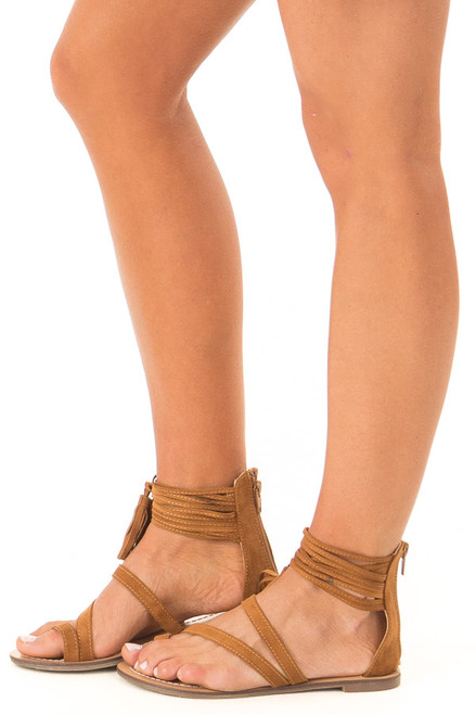 e29d61dfad2 Camel Strappy Ankle Sandals with Fringe Detail