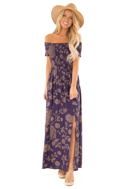 7ae5c05c349 Indigo Floral Print Long Sleeve Maxi Dress with Front Tie - Lime ...