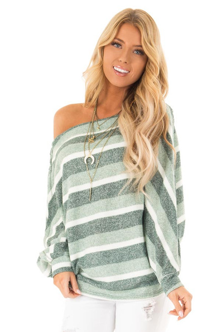ae78c8137b Olive Green Striped Off the Shoulder Long Dolman Sleeve Top